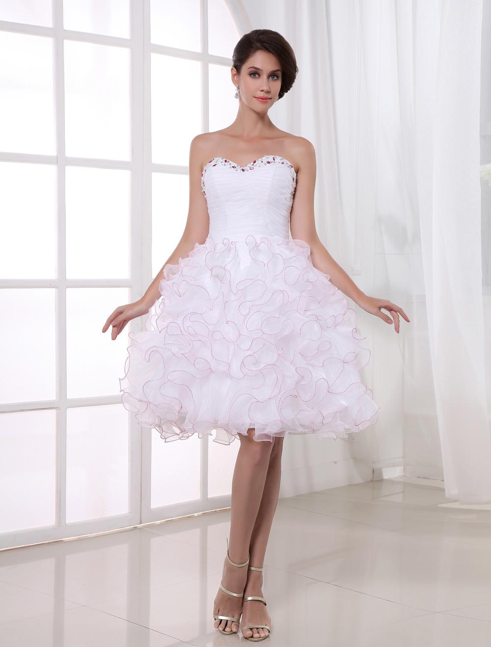A-line White Organza Ruffles Knee-Length Women's Prom Dress (Wedding Prom Dresses) photo