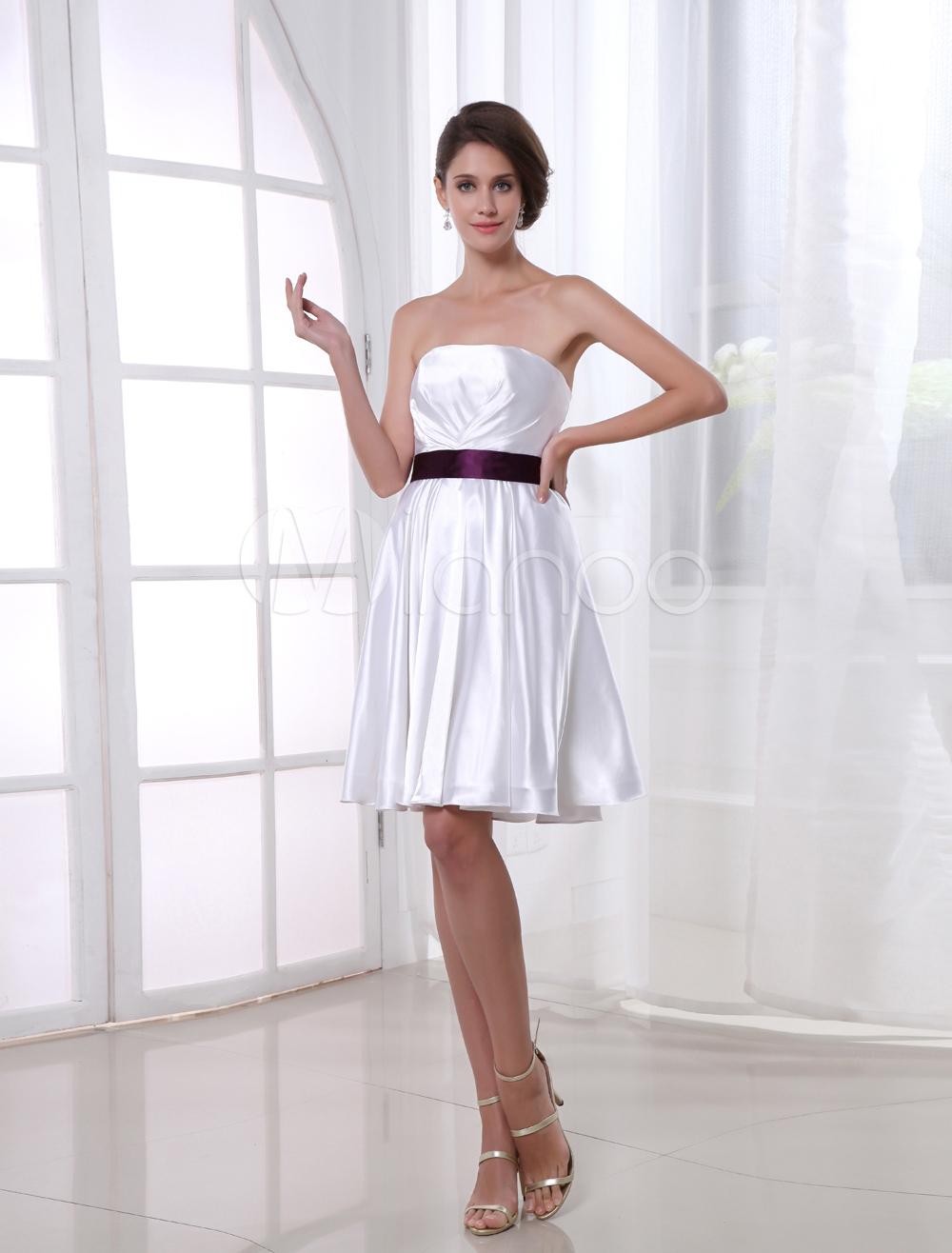A-line White Strapless Knee-Length Fashion Cocktail Dress