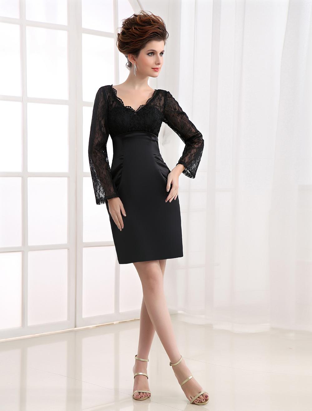 Black Long Sleeves Lace V-Neck Sheath Satin Cocktail Dress (Wedding Cocktail Dresses) photo