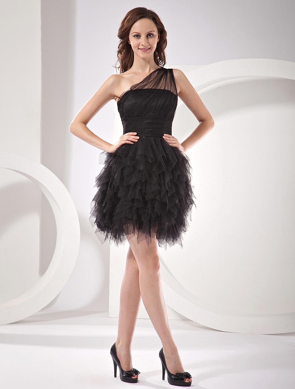 Black One-Shoulder Layered Knee Length Net Cocktail Dress (Wedding) photo