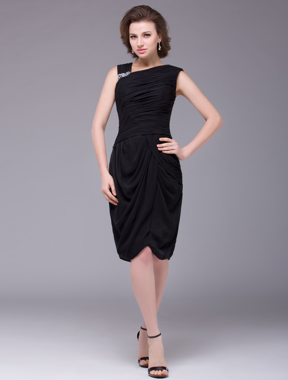 Black Sleeveless Knee Length Imitated Silk Mother of the Bride Dress Wedding Guest Dress
