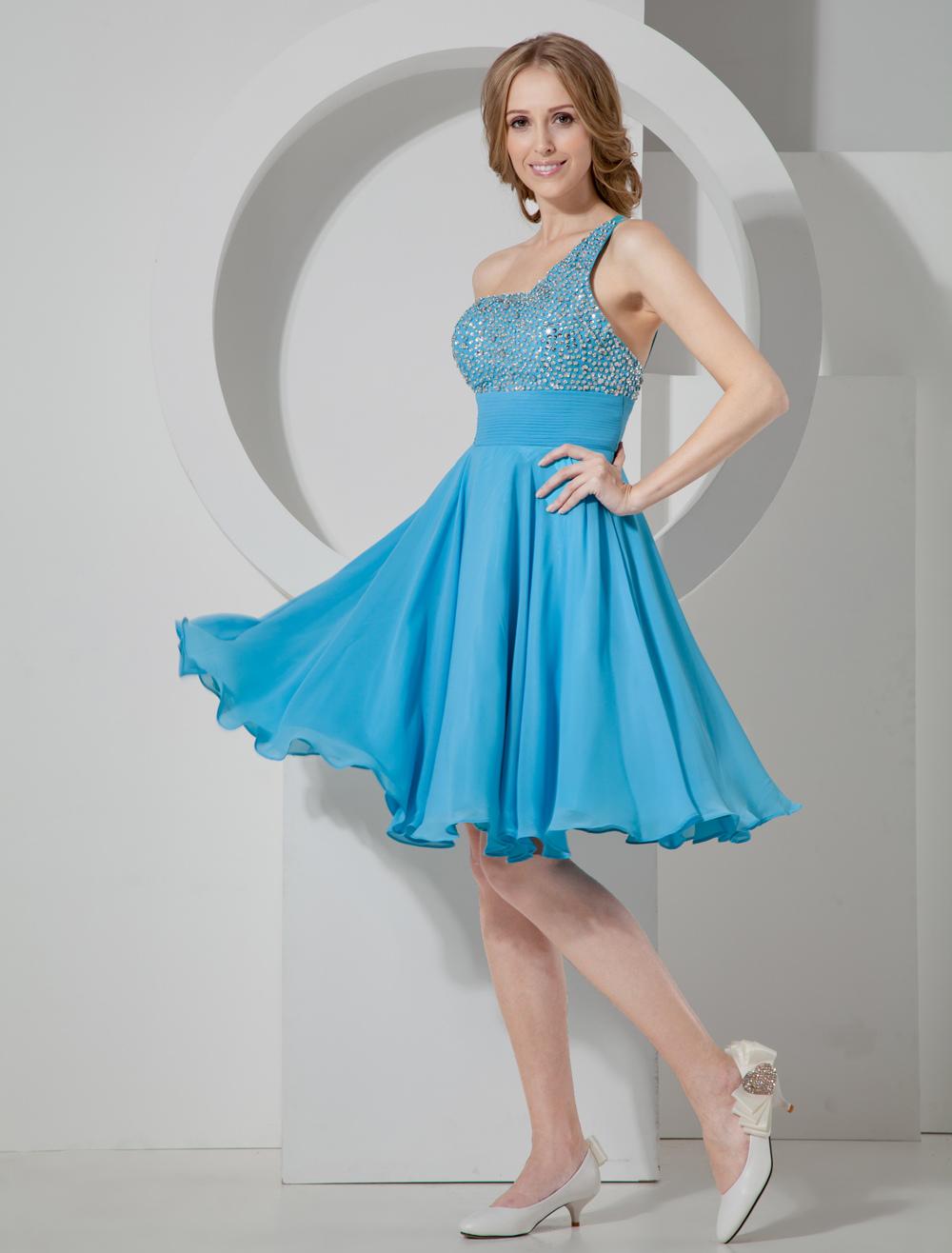 Chiffon Homecoming Dress Cyan Rhinestone One Shoulder Short Party Dress (Wedding Cheap Party Dress) photo