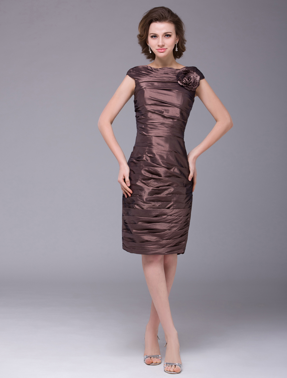 Brown Sheath Flower Taffeta Charming Fashion Mother of the Bride Dress Wedding Guest Dress