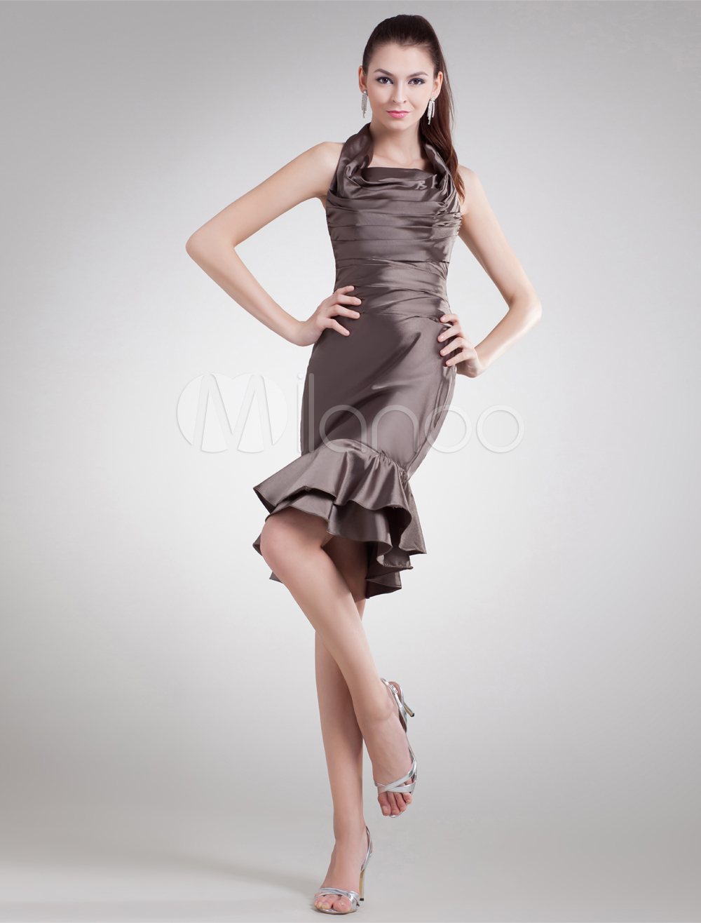 Brown Tiered Halter Elastic Woven Satin Short Fashion Cocktail Dress (Wedding Cheap Party Dress) photo