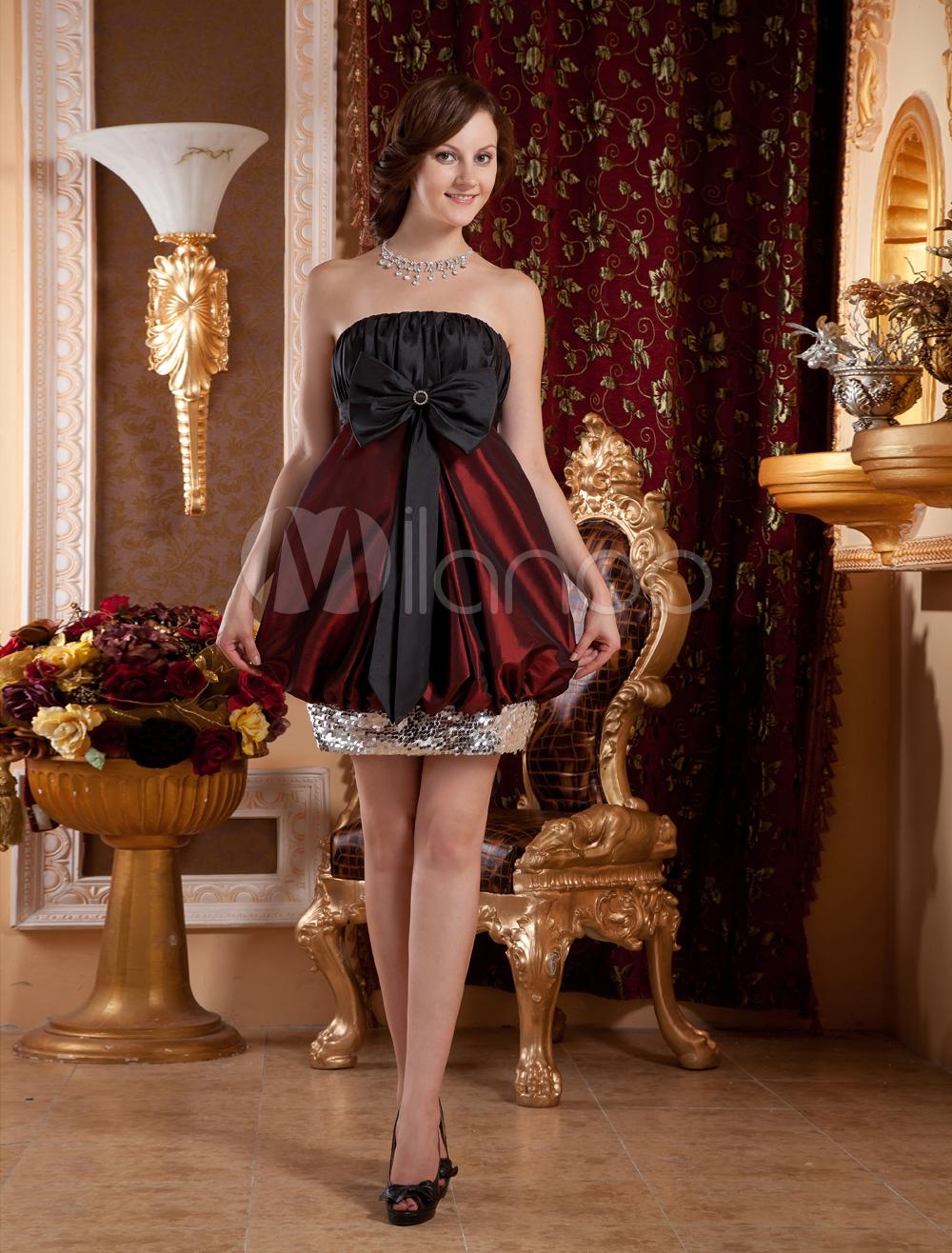 Burgundy Sheath Strapless Bow Charmeuse Cocktail Dress (Wedding Cheap Party Dress) photo