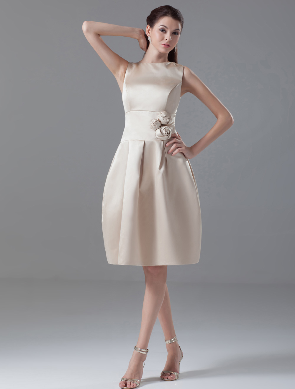 Champagne A-line Pretty Knee-Length Flower Satin Cocktail Dress with Jewel Neck