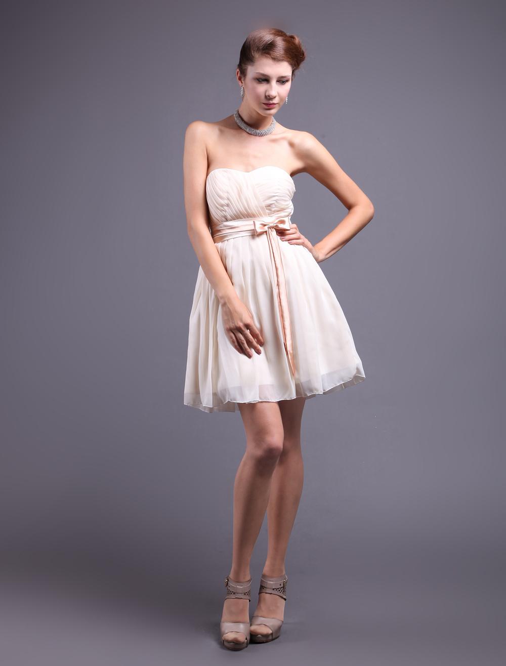 Champagne Chiffon Sweetheart Bow Prom Dress (Wedding Cheap Party Dress) photo
