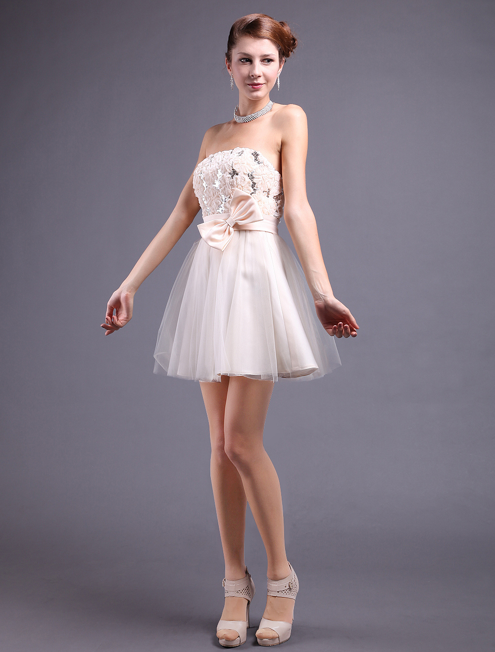 Champagne Sequined Cloth Strapless Prom Dress (Wedding Cheap Party Dress) photo