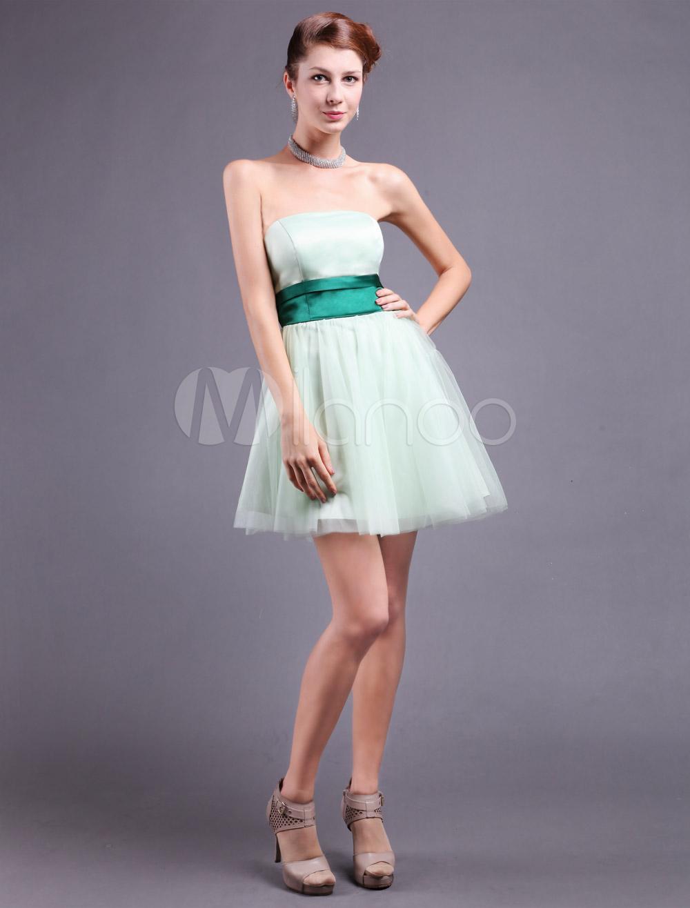 Chic Green Satin Sash Strapless Prom Dress (Wedding Cheap Party Dress) photo