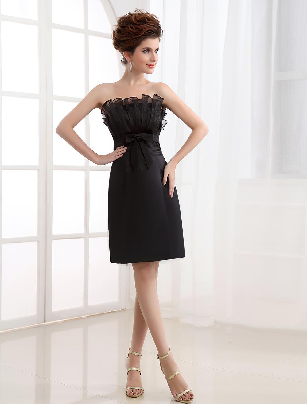 Black Strapless Pleated Satin Cocktail Dress
