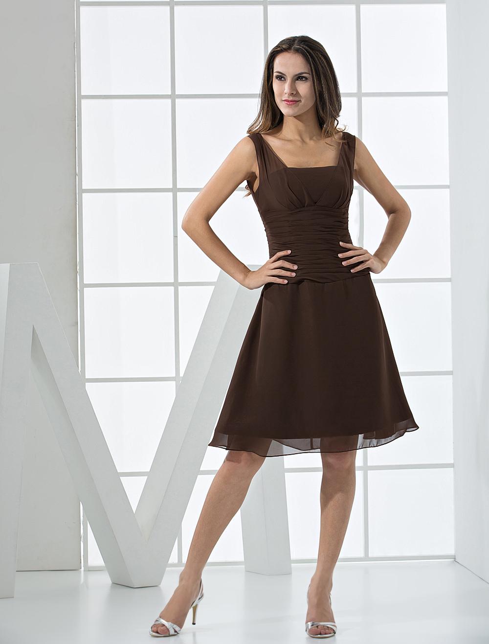 robe de cocktail chocolat de col carr longueur genou milanoocom - Milanoo Robe De Soiree Pour Mariage