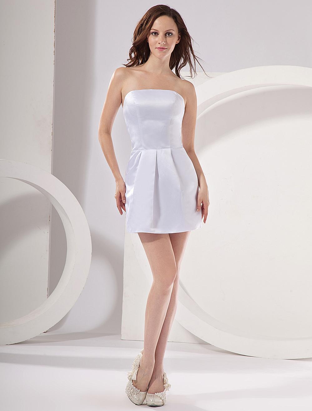 Cute White Strapless Satin Womens Homecoming Dress (Wedding Cheap Party Dress) photo