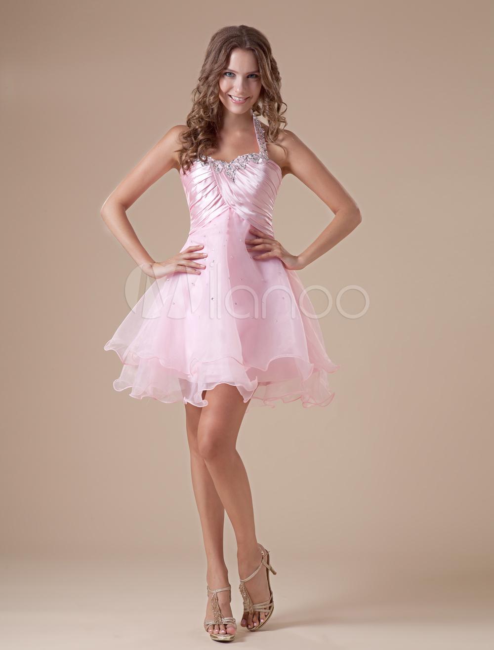 Elegant Short Pink Halter Tulle Womens Homecoming Dress (Wedding Cheap Party Dress) photo