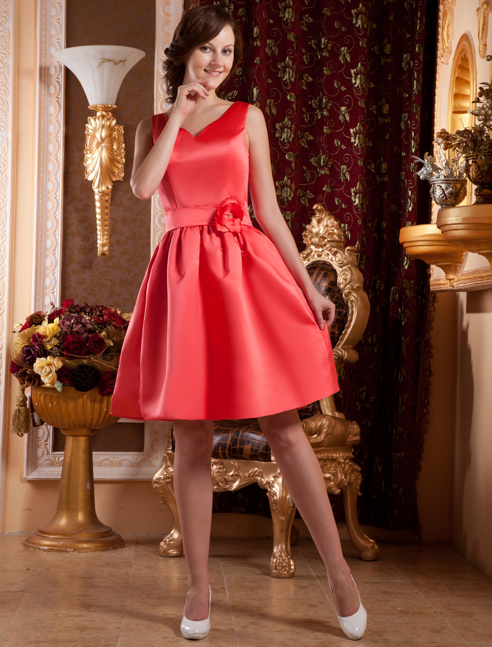 Gorgeous Red Satin V-neck Knee Length Cocktail Dress (Wedding Cheap Party Dress) photo