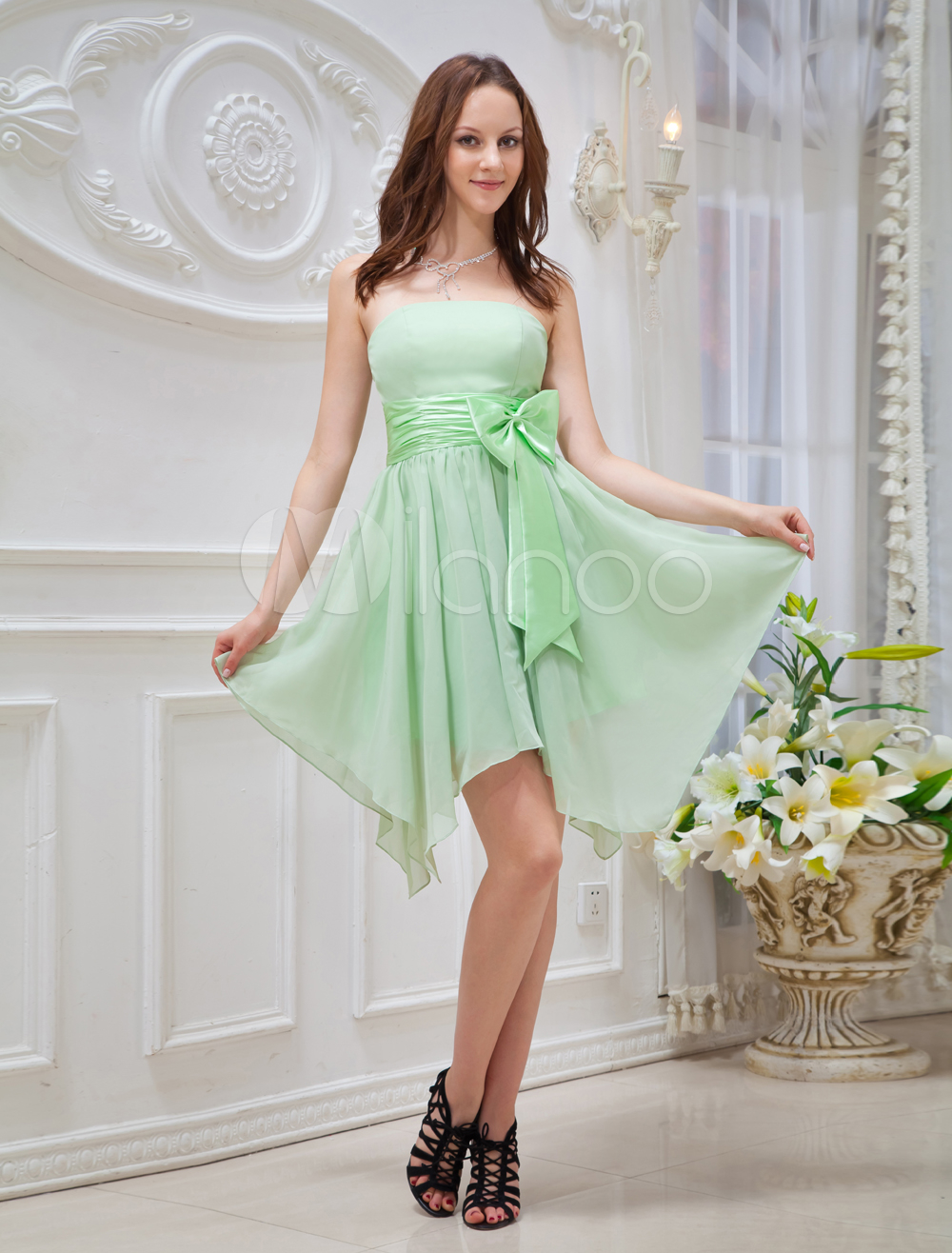 Green Asymmetrical Hemline Bow Chiffon Prom Dress (Wedding Cheap Party Dress) photo