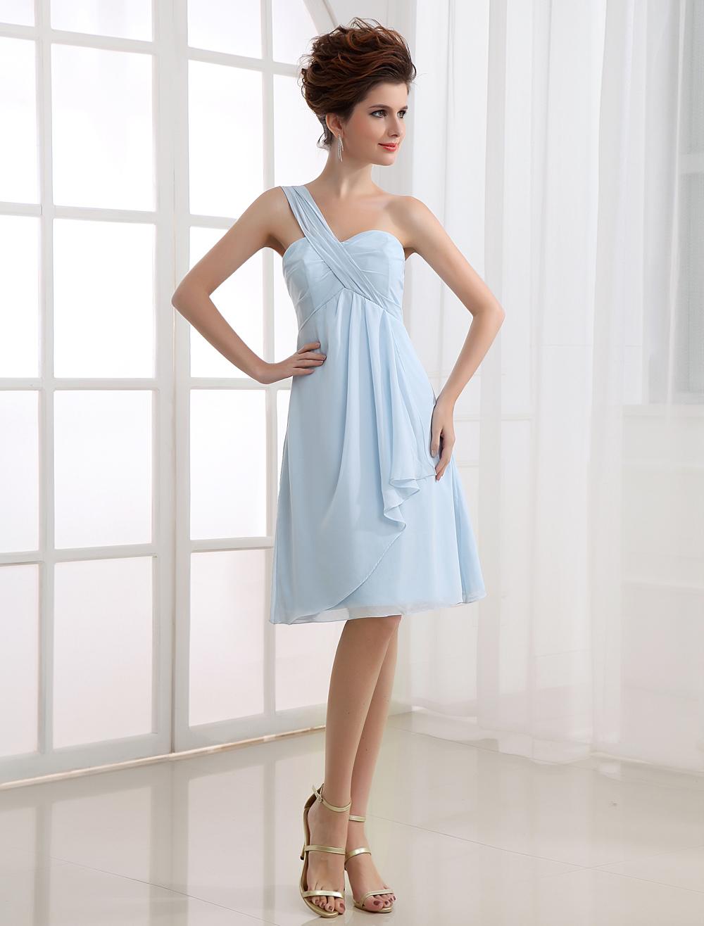 Pastel Blue Prom Dress One Shoulder A Line Chiffon Short Party Dress (Wedding Cheap Party Dress) photo