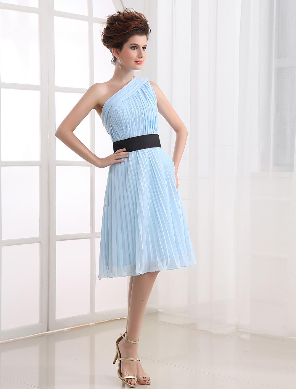 Chiffon Cocktail Dress Pastel Blue One Shoulder Sash Ruched Short Prom Dress (Wedding Cheap Party Dress) photo