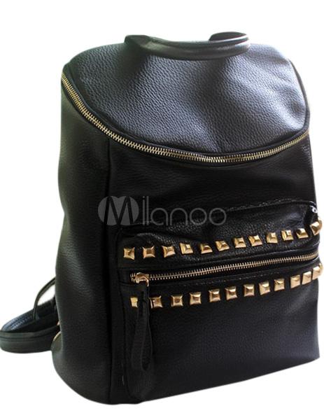 schwarzer damen rucksack aus pu mit ziernieten. Black Bedroom Furniture Sets. Home Design Ideas
