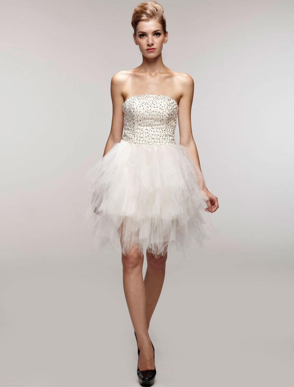 Magnificent White Gauze Strapless Beaded Mini Wedding Dress (Cheap Party Dress) photo