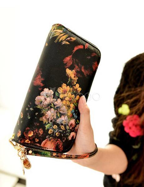 portefeuille femme en pu noir imprim fleuri multicolore. Black Bedroom Furniture Sets. Home Design Ideas