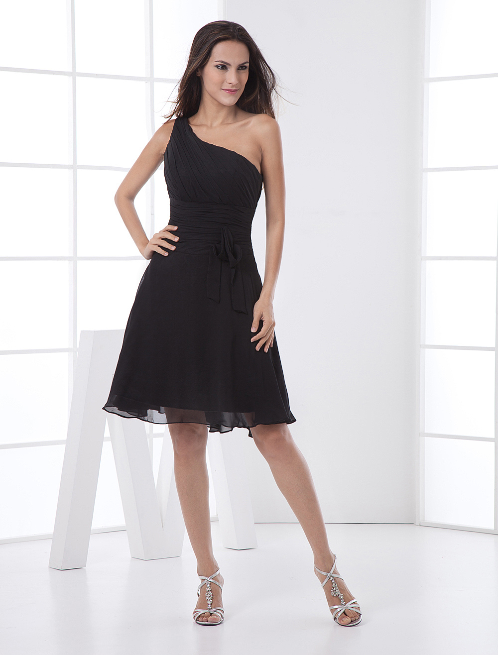 One-Shoulder Ruched Cocktail Dress Wedding Guest Dress (Cheap Party Dress) photo