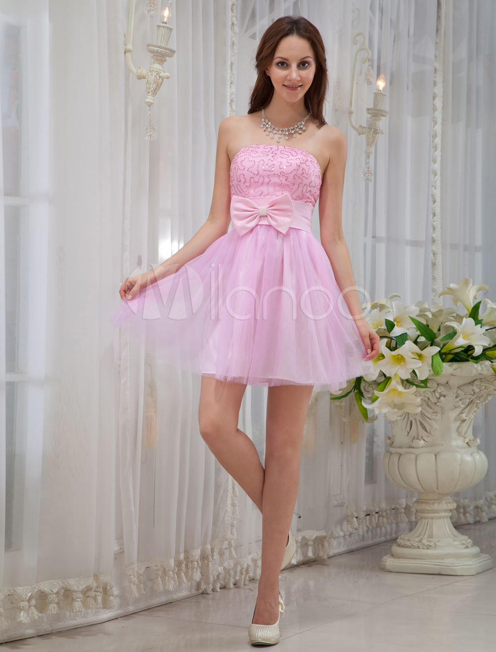 Pink Strapless Sequin Mini Length Tulle Prom Dress (Wedding Cheap Party Dress) photo