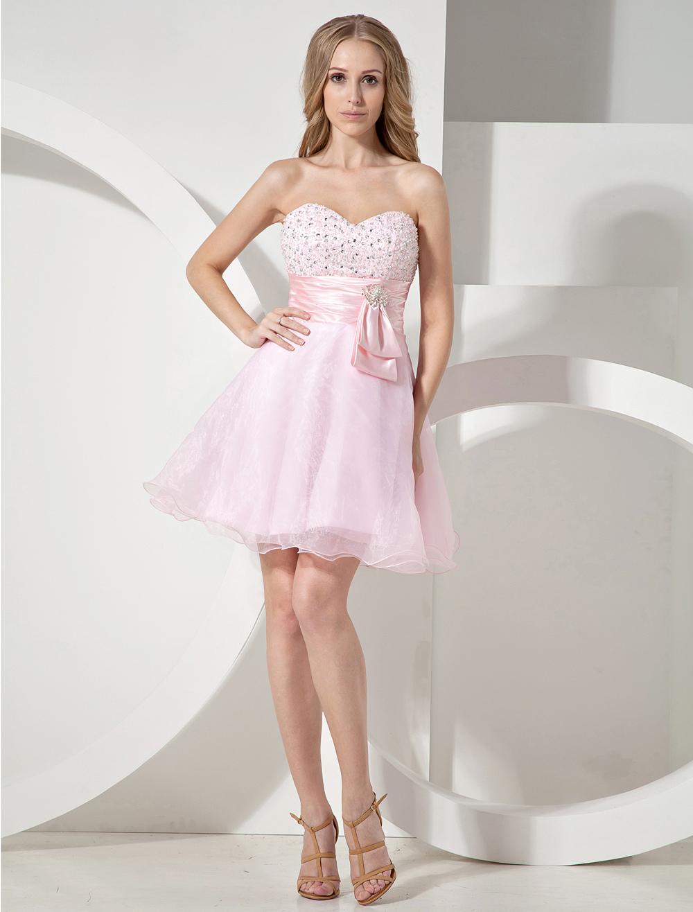Pink Sweetheart Beading Bow Organza Woman's Prom Dress (Wedding Cheap Party Dress) photo