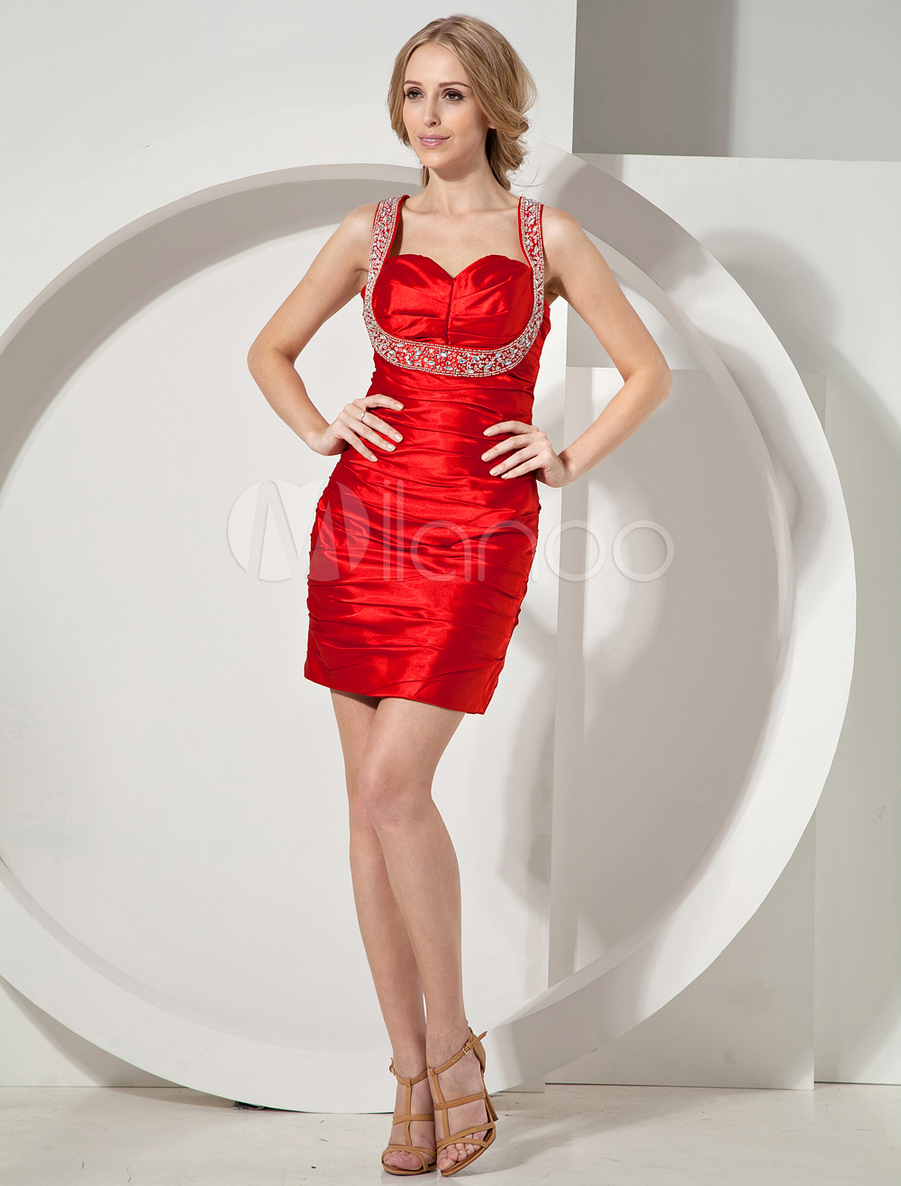 Red Beading Sweetheart Elastic Woven Satin Cocktail Dress (Wedding Cheap Party Dress) photo