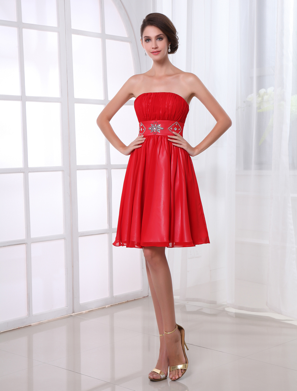 Red Chiffon Crystal Strapless Knee-Length Women's Cocktail Dress