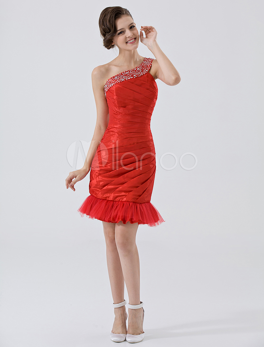 Red One-Shoulder Beading Feather Taffeta Homecoming Dress