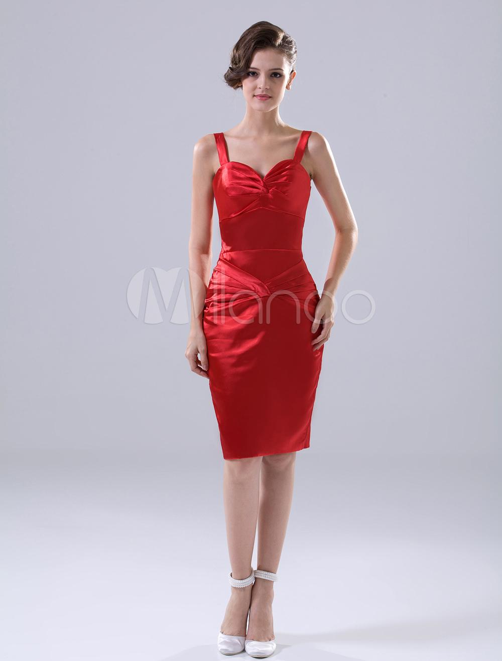 Red Sheath Spaghetti Elastic Woven Satin Cocktail Dress (Wedding Cheap Party Dress) photo