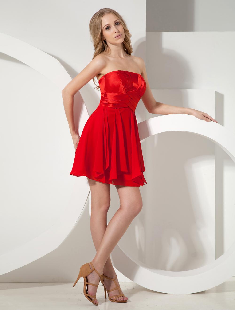 Red Strapless Ruffled Chiffon Woman's Homecoming Dress (Wedding Cheap Party Dress) photo