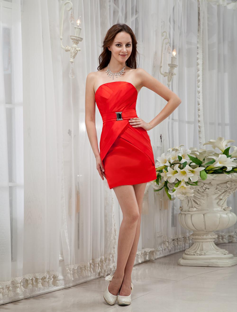 Red Strapless Sheath Rhinestone Satin Cocktail Dress (Wedding Cheap Party Dress) photo