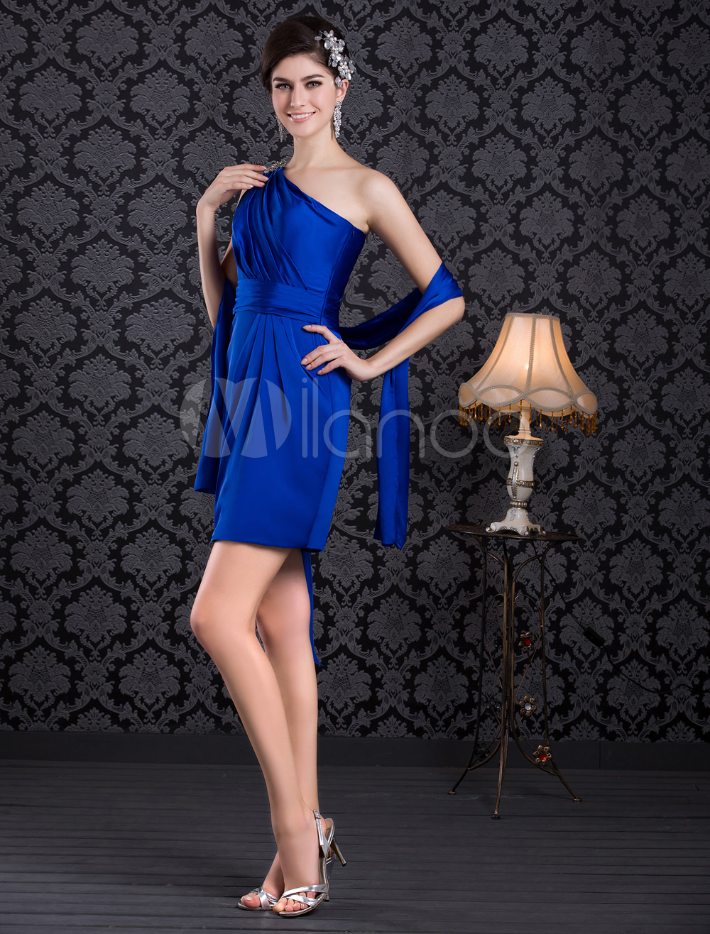 Royal Blue Beading One-Shoulder Knee-Length Cocktail Dress (Wedding Cheap Party Dress) photo