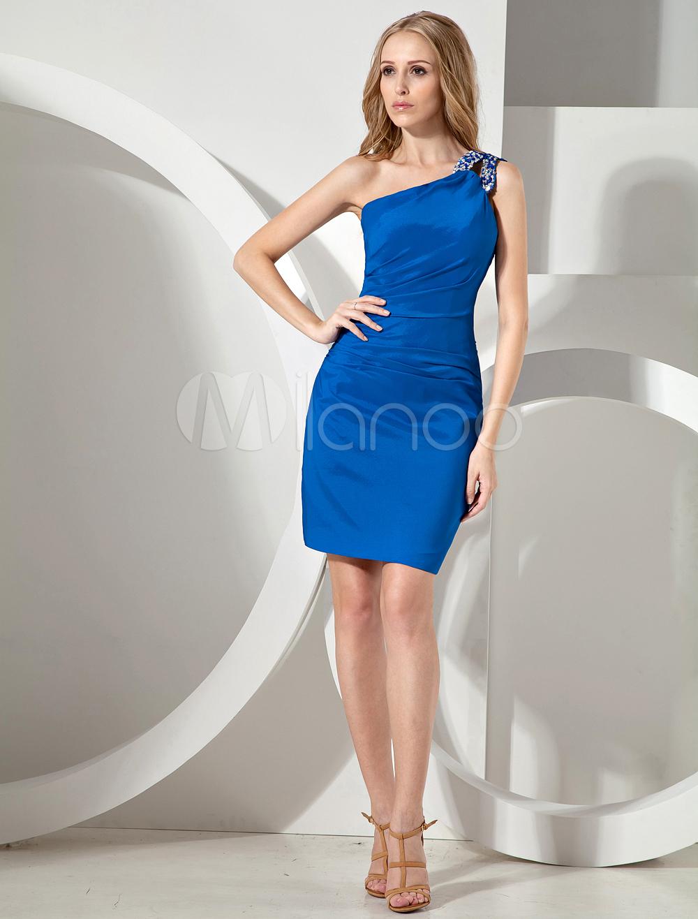 Royal Blue One-Shoulder Elastic Woven Satin Cocktail Dress