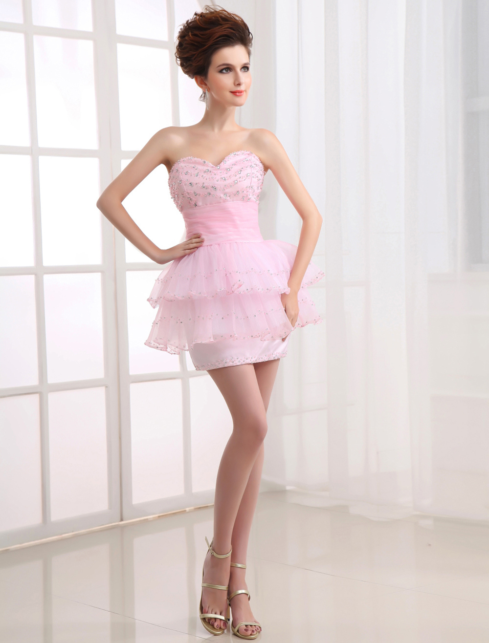 Sexy Pink Organza Satin Knee Length Prom Dress (Wedding Prom Dresses) photo