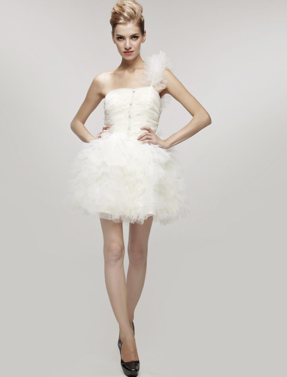 Sexy White Gauze One Shoulder Mini Wedding Dress (Cheap Party Dress) photo