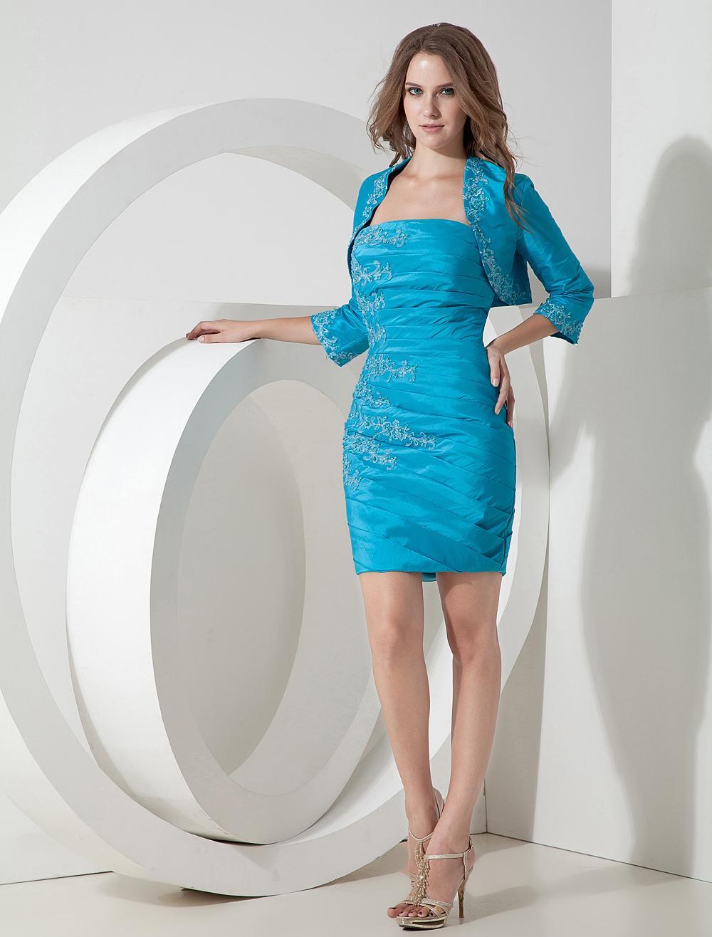 Bodycon Cocktail Dress 2 Piece Set Teal Taffeta Applique Pleated Mini Occasion Dress