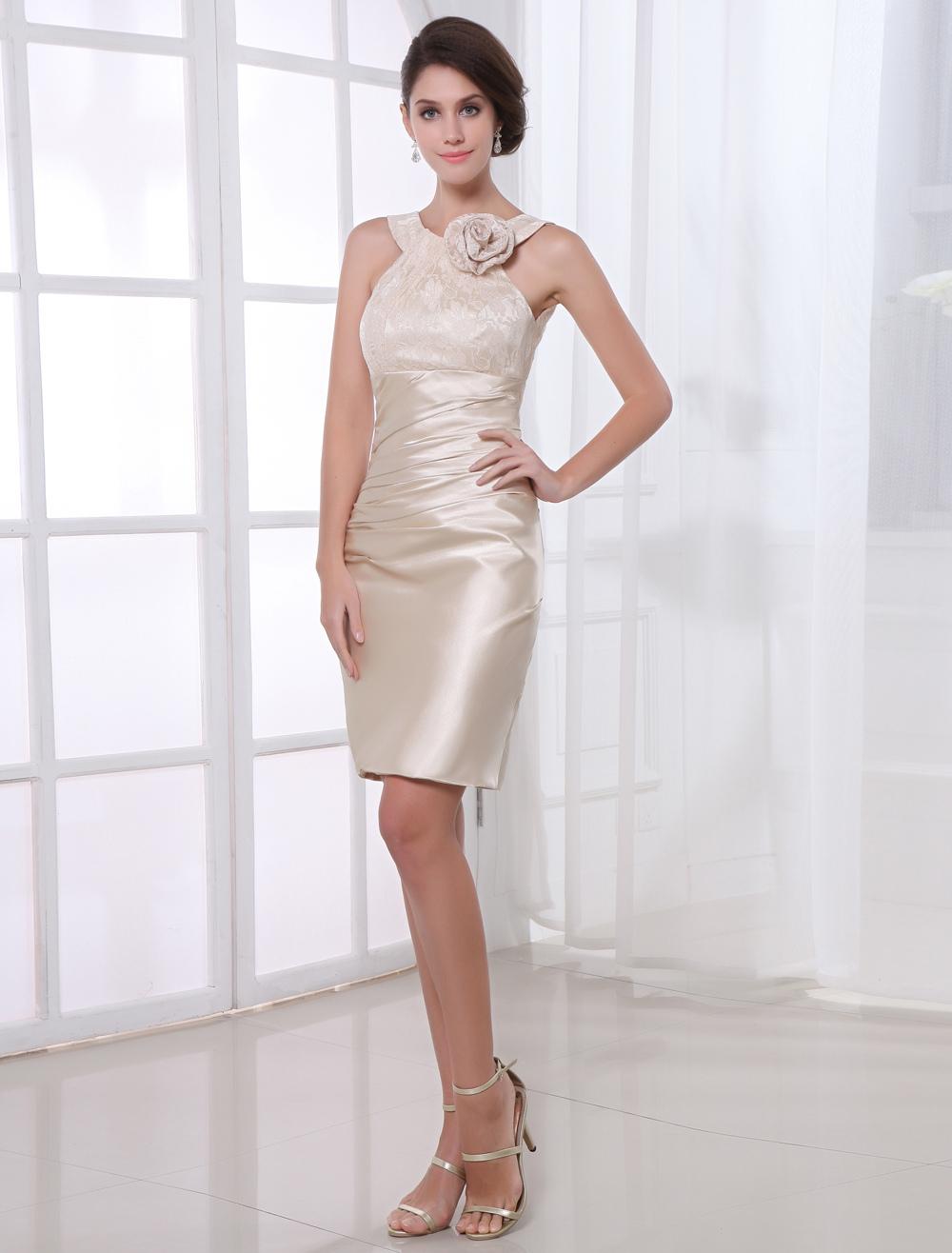 Knee-Length Lace Paneled Cocktail Dress Wedding Guest Dress (Cheap Party Dress) photo
