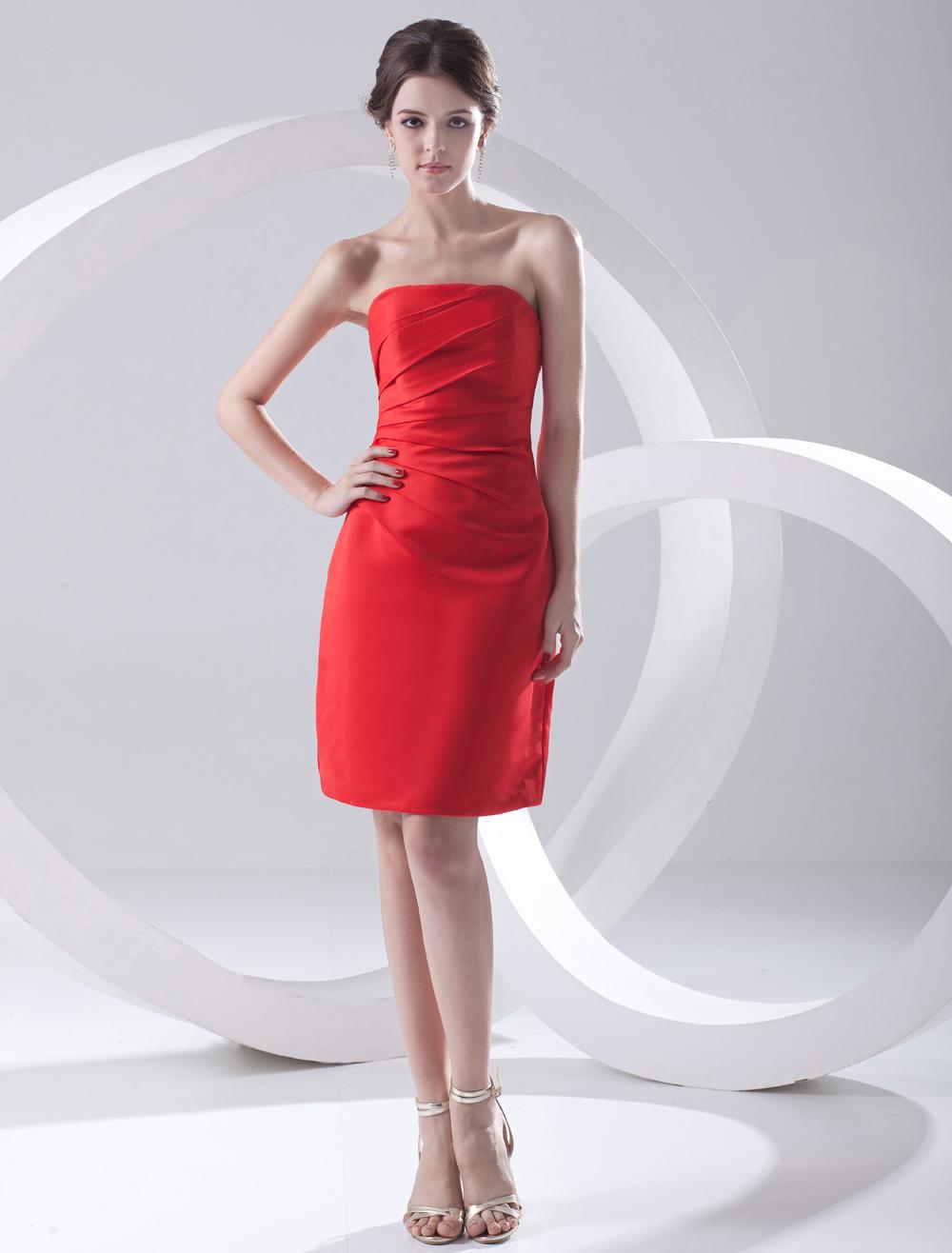 Sheath Red Satin Strapless Knee-Length Women's Cocktail Dress (Wedding Cheap Party Dress) photo