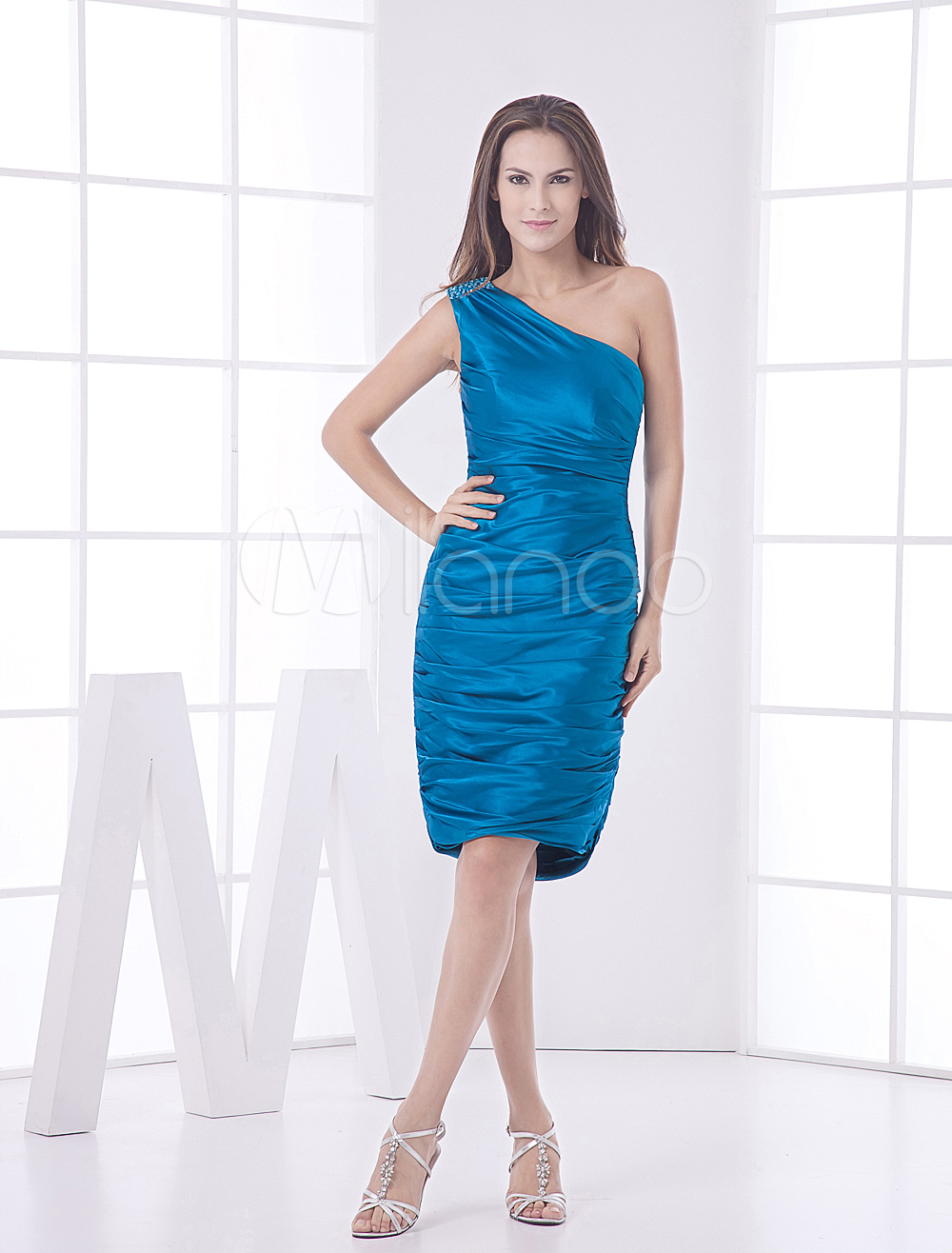 Sheath Royal Blue One Shoulder Women's Cocktail Dress (Wedding Cheap Party Dress) photo
