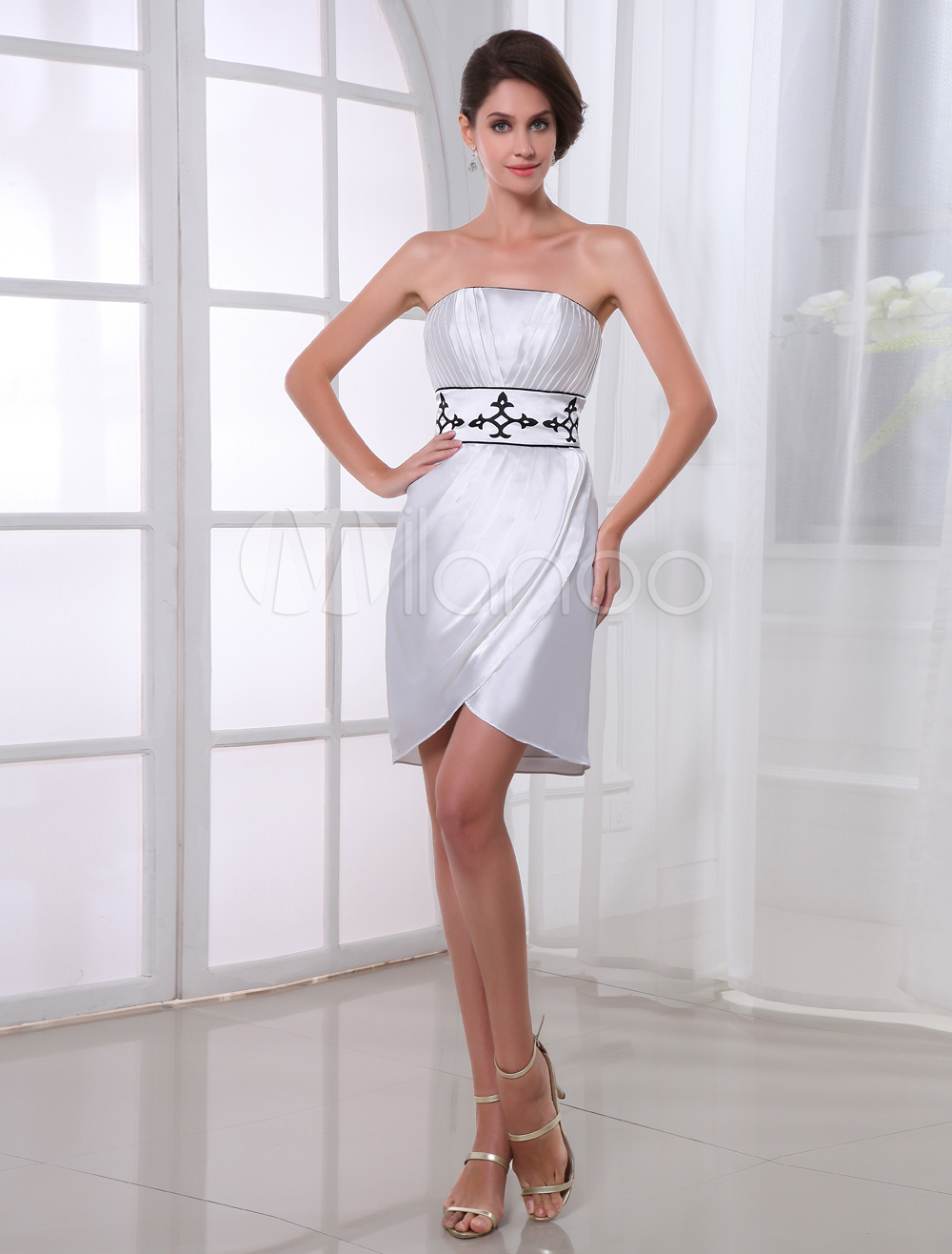 Sheath White Ruched Strapless Knee-Length Fashion Cocktail Dress (Wedding Cheap Party Dress) photo