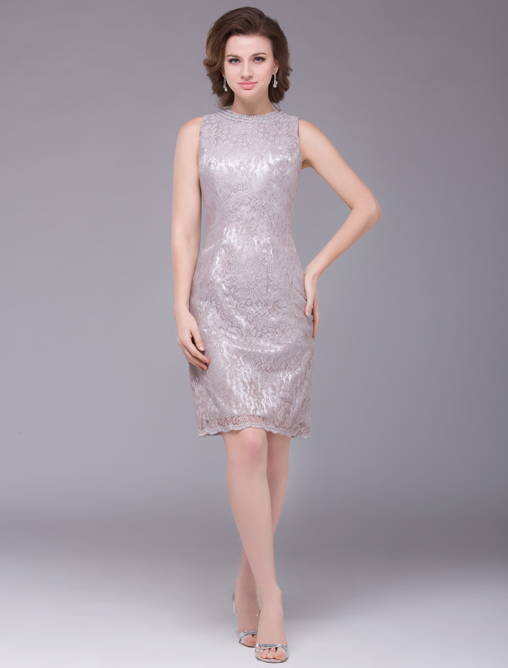 Silver Round Neck Sleeveless Lace Mother of the Bride Dress Wedding Guest Dress photo