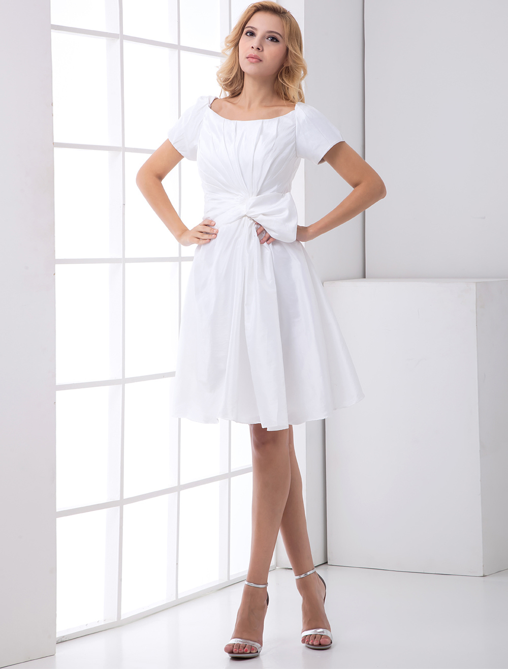 White A-line Modern Knee-Length Cocktail Dress with Square Neck Bow (Wedding Cheap Party Dress) photo