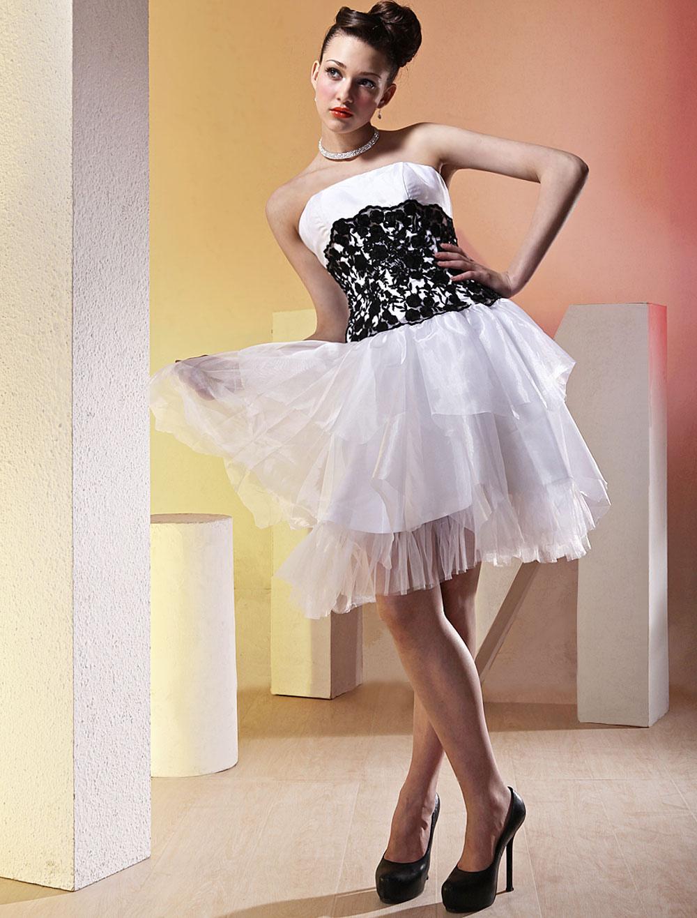 White Black Strapless Multi-Layer Skirt Tulle Cocktail Dress (Wedding Cheap Party Dress) photo