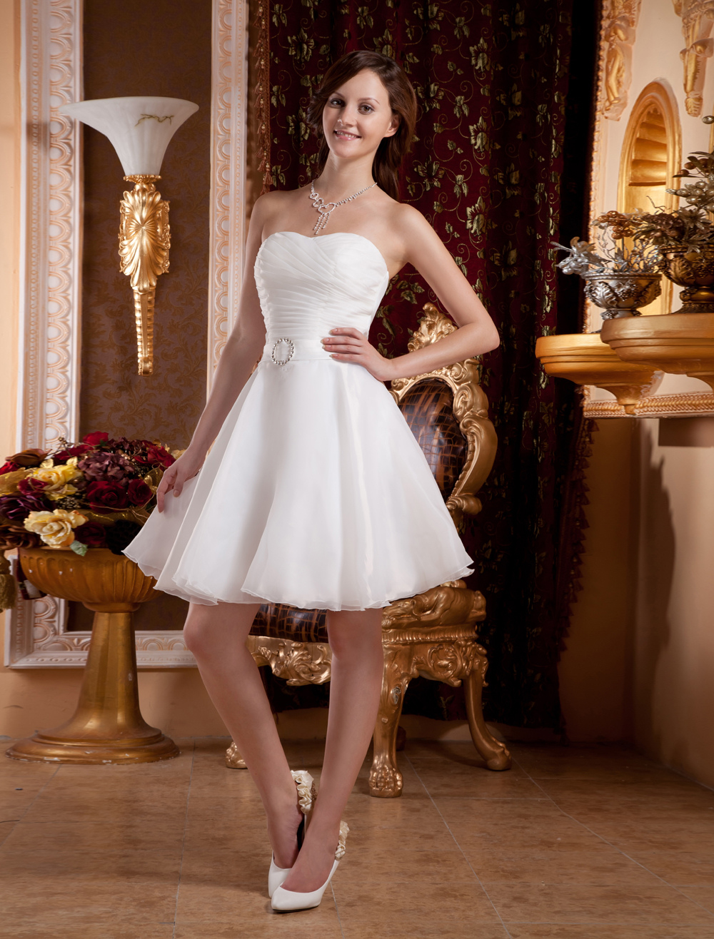 White Sweetheart Rhinestone Organza Homecoming Dress $99.99 AT vintagedancer.com