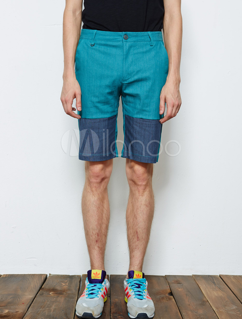 British Style Two-Tone Button Fly Cotton Light Sky Blue Shorts For ...