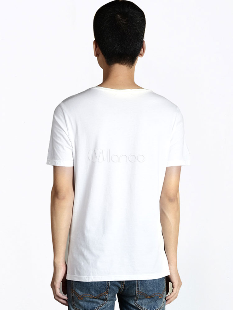 White crewneck short sleeves unique print cotton casual for Unusual shirts for men