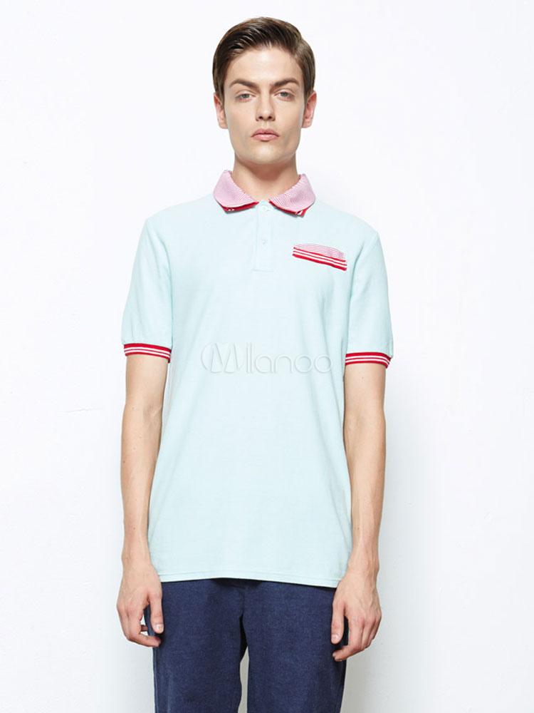 Smart light blue cotton piping pockets short sleeves mens for Light blue short sleeve shirt mens