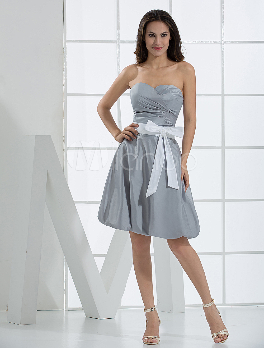Silver Prom Dress Strapless Backless Sash Bow Taffeta Dress (Wedding Cheap Party Dress) photo